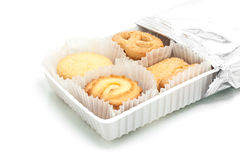 Assorted cookie in plastic box ,  on white. Studio shot Stock Photography