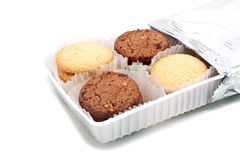 Assorted cookie in plastic box ,  on white Royalty Free Stock Image
