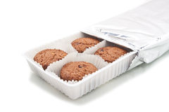 Assorted cookie in plastic box ,  on white. Studio shot Stock Images