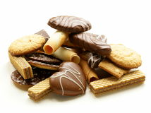 Assorted cookies with chocolate and nuts Royalty Free Stock Images