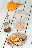Assorted Cookies and Citrus Fruit Chips. White Wooden Table Background Stock Photography