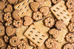 Assorted cookies with cocoa, dark and white chocolate glaze and nuts Royalty Free Stock Photo