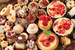 Assorted cookies and desserts Stock Photography