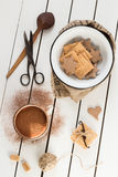 Assorted Cookies and Hot Cocoa. White Wooden Background. Overhead View Stock Photos