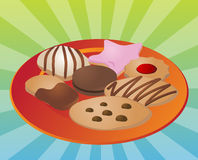 Assorted cookies on plate Stock Photos