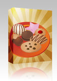 Assorted cookies on plate box package Royalty Free Stock Photography