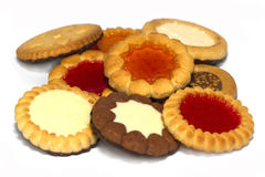 Assorted cookies on white background. Royalty Free Stock Photos
