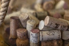 Assorted Corks in a Bottle royalty free stock photography