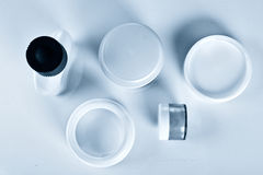 Assorted cosmetics bottles. From the top royalty free stock images