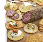 Cracker With Salami ,Cheese And Dips Stock Photography