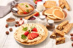 Assorted crepe. Pancake and waffle royalty free stock images