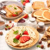 Crepe and waffles. Assorted crepe, pancake and waffle stock photography