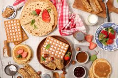 Assorted crepe and waffles royalty free stock image