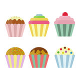 Assorted Cup Cakes Cartoon Set. Royalty Free Stock Images