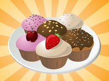 Assorted cupcakes. Fancy decorated assorted cupcakes illustration clip art Stock Photos