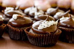 Assorted Cupcakes on Display. Chocolate cream filled cupcakes sitting on display table Stock Photos
