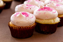 Assorted Cupcakes on Display. Vanilla strawberry cupcakes with pink sprinkles sitting on display table Royalty Free Stock Image