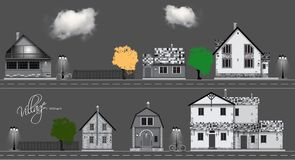 Assorted cute houses collection. Couds, bicycle ,road  Stock Photography