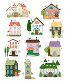 Assorted cute houses collection Royalty Free Stock Images