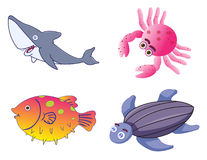 Assorted Cute Sea Creatures in Vector Stock Photo