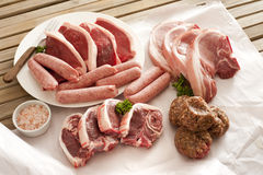 Assorted cuts of raw meat Royalty Free Stock Photos