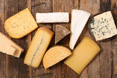 Assorted of dairy product. On wood royalty free stock photo