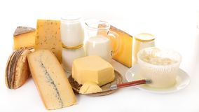 Assorted dairy product. On white background Royalty Free Stock Photo