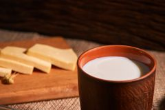 Assorted dairy products milk, cheese, eggs. rustic still life on table royalty free stock photos
