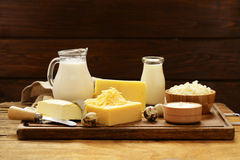 Assorted dairy products milk, yogurt, cottage cheese, sour cream. Rustic still life Royalty Free Stock Image