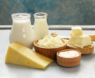 Assorted dairy products milk, yogurt, cottage cheese, sour cream. Rustic still life Stock Images