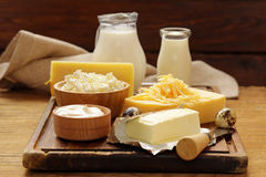 Assorted dairy products milk, yogurt, cottage cheese, sour cream royalty free stock photos
