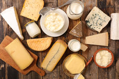 Assorted dairy products. Top view Stock Images