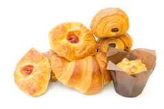 Assorted danish pastries on white Stock Image