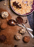 Assorted dark chocolate truffles Stock Photography