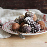 Assorted dark chocolate truffles with cocoa powder Stock Photos