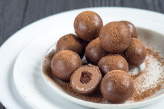 Assorted dark chocolate truffles with cocoa powder Stock Images