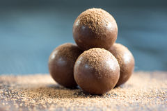 Assorted dark chocolate truffles with cocoa powder Royalty Free Stock Images