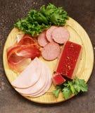 Assorted deli meats - ham, salami, parma, prosciutto Stock Photos
