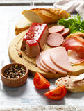Assorted deli meats - ham, salami, parma, prosciutto Royalty Free Stock Image