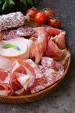 Assorted deli meats - ham, sausage, salami, parma, prosciutto Royalty Free Stock Image