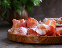 Assorted deli meats - ham, sausage, salami, parma, prosciutto Royalty Free Stock Photography