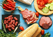 Assorted deli meats - ham, sausage, salami, prosciutto Royalty Free Stock Photography