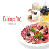 Assorted deli meats and a plate of cheese,  Royalty Free Stock Image