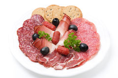 Assorted deli meats on a plate, isolated Stock Photo