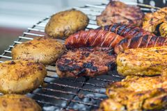 Assorted delicious grilled meat over the coals. royalty free stock photos