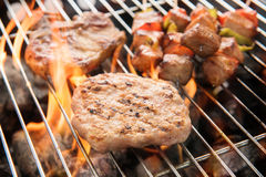 Assorted delicious grilled meat over the coals on a barbecue. Royalty Free Stock Photos