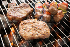 Assorted delicious grilled meat over the coals on a barbecue Royalty Free Stock Photos