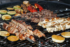 Assorted delicious grilled meat with vegetable over the coals on a barbecue royalty free stock photos