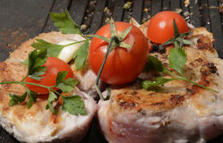 Assorted delicious grilled meat with vegetable over the coals on a barbecue in closeup Royalty Free Stock Image