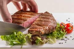 Assorted delicious grilled meat with vegetable over the coals on royalty free stock photo